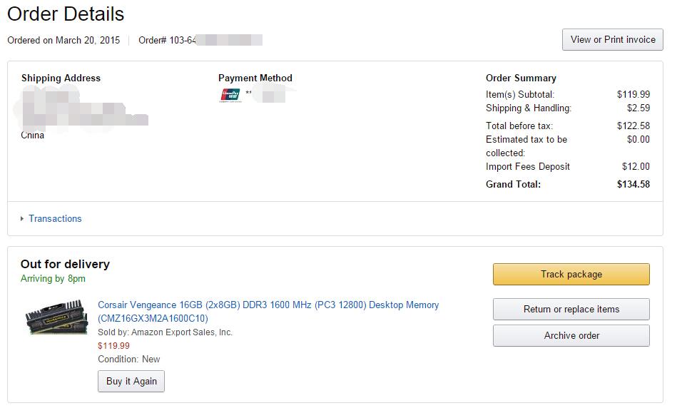 在Amazon购买海盗船8G*2内存套装的价格