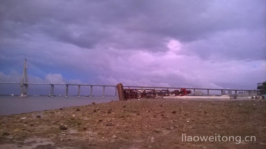 2015湛江台风彩虹,工具船倾倒